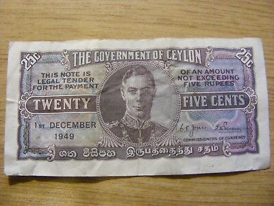 1949 Ceylon George VI 25 Cents Banknote - Used but very crisp - A Prefix note