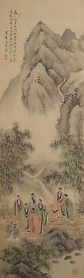 #9292 Japanese Hanging Scroll: Seven Sages of the Bamboo Grove