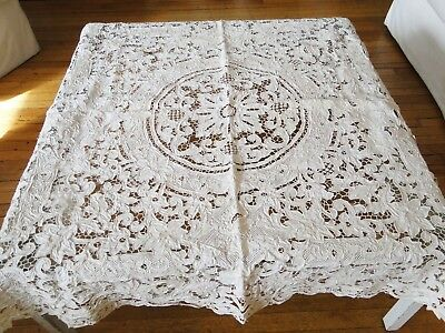 Antique Linens -Elaborate Embellished  Hand Embroidered Madeira Tablecloth