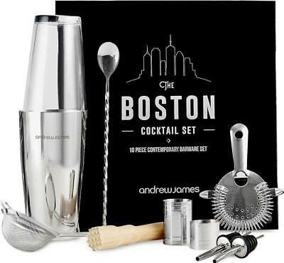 Andrew James Cocktail Shaker Set 10 Piece Kit with Boston Glass