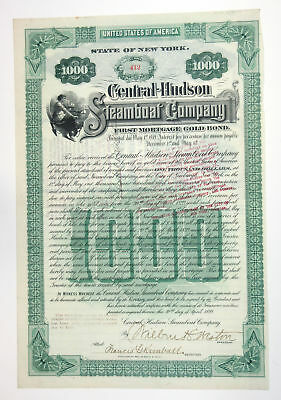 Central-Hudson Steamboat Co NY 1899 Issued $1000 1st Mortgage Bond Fine & Scarce