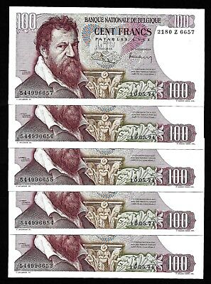 5 Pcs of 100 Francs From Belgium  Consecutive Numbers Unc