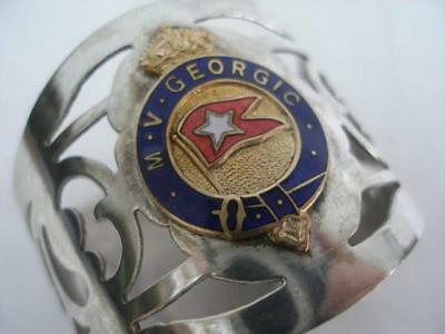 White Star Line Silver Plated & Enamel Napkin Ring From The M.V. Georgic.