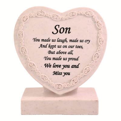 Son Heart Shaped Memorial Grave Plaque Cremation Marker