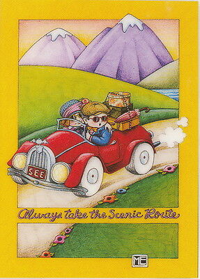 ALWAYS TAKE THE SCENIC ROUTE-Handcrafted Magnet-Using art by Mary Engelbreit