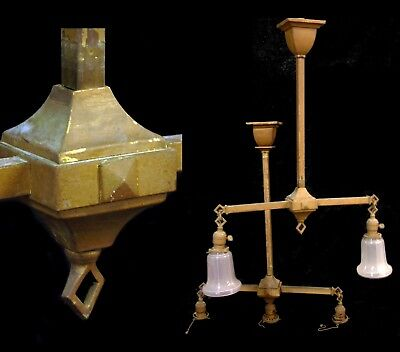 Pair Antique Arts & Crafts Mission Stickley Bungalow Chandeliers Ceiling Lamps