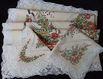 3 X Vintage French Shabby Country Cotton/linen Print Lace Inset/edge Tablecloths