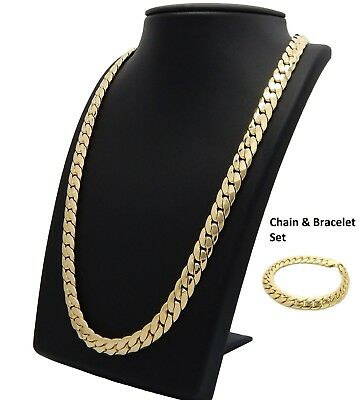 14k Mens Miami Cuban link Chain & Bracelet Set 10mm Gold Plated Necklace