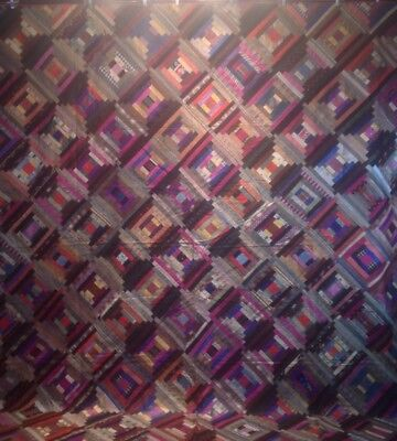 Antique C1890s Silk Courthouse Steps Log Cabin Quilt With Woven Tape Edge