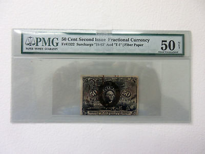 U.S. Fractional Currency 2nd Iss 50ct Fr#1322 Surcharge 18-64 & T-1 PMG AU 50
