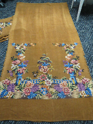Antique English Chenille Portieres Pair Long With Large Bottom  Area of Flowers