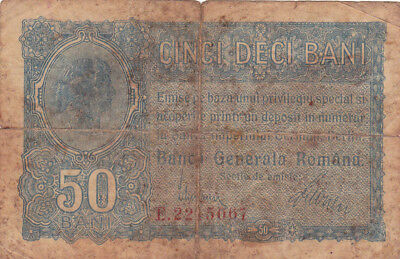 50 Bani Vg Banknote From German Occupied Romania  1917!pick-M2