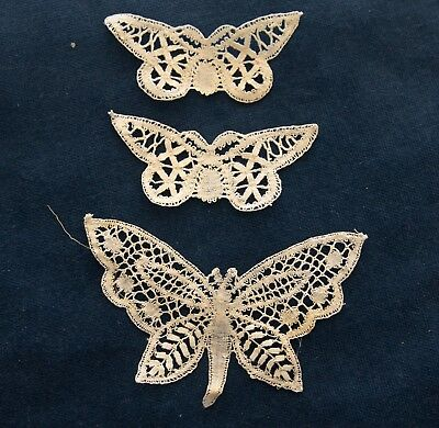 Lot of 3 Antique Handmade  Cluny Lace Butterflies Trim