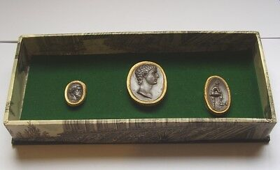 ANTIQUE INTAGLIO GRAND TOUR VERY NICE QUALITY THREE IN A DISPLAY circa 1800