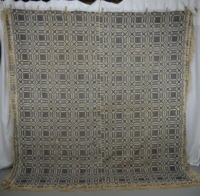 antique coverlet linen wool blue white 86x96 Chariot wheel  original