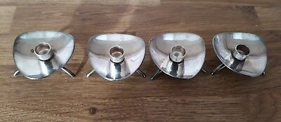 Set Of 4 COHR Denmark ATLA Footed Candle Holders Mid Century Silver Plate