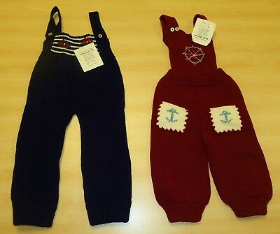 2 x VINTAGE 1970's UNWORN BABIES KNITTED DUNGAREES ASSORTED COLOURS (PATTERN C)