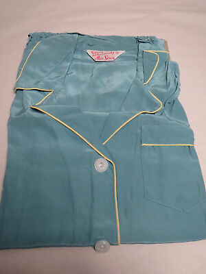 Vtg 1950s Lady's NEW OLD STOCK Silk Rayon Pajama Set Still Pinned to Cardboard