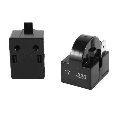 2pcs Black Plastic Shell Refrigerator PTC Starter Relay Single Terminal 17 Ohm