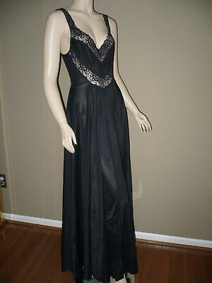 "Vintage Undercover Wear 195"" Full Sweep Black Nylon Nightgown Large Bust To 42"""