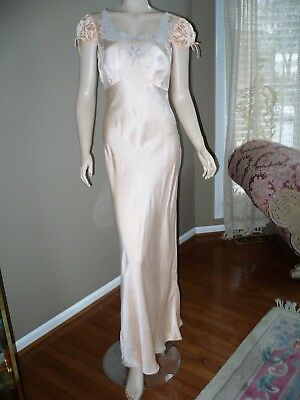 Vintage 1940's Long Peach Silk Nightgown With Lace Size Small Deco Style