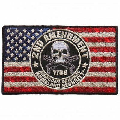 Distressed American USA Flag 2nd Amendment 4 INCH Iron on PATCH BY MILTACUSA