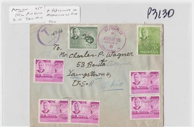 """MAURITIUS -USA 1952 SHORT PAID COVER+""""DEFICIENCY IN ADRESS B"""" H/S,20c(SEE BELOW)"""