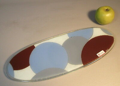 Signed Peggy Karr Art Glass Tray Platter w/Large Overlapping Circles Orig Label