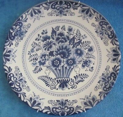 DELFTS BLUE Holland Chemketa Display PLATE - CHARGER blue & white FLOWER BASKET