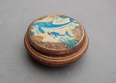 1800 BC Greek Museum Reproduction Replica Pyxis Lidded Box Dolphin Ceramic 3 3/4