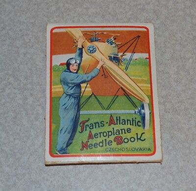 Old Antique Sewing Needle Book Airplanes Czechoslovakia Aeroplane