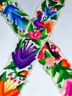 VINTAGE WOVEN MEXICAN EMBROIDERED BELT SASH-Festival-Hippie-Boho-Peasant