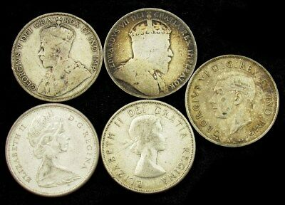 Lot of 5 Canada Silver 50 Cent Coins -1906-1965- Avg Circ or Better