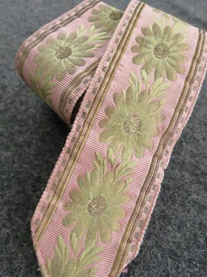 Antique 1840s FRENCH FAILLE SILK & METALLIC GOLD Lame RIBBON TRIM pink floral
