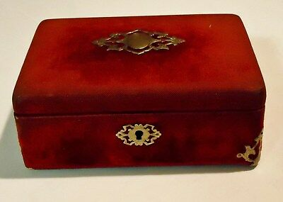 Antique Victorian Jewelry Box Red Velvet With Silvertone Decorations