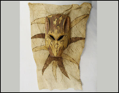 Vintage RARE Ticuna Amazon Indians carved wood mask painted bark cloth Tribal !!
