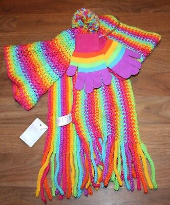 NWT Total Girl Multi Brights Girls scarf gloves hat set One Size