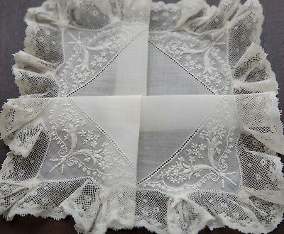 Antique Edwardian French Bridal Wedding Embroidered Hanky w/ Valenciennes Lace