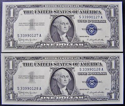 America 1957 B Silver Certificate PAIR $1 Banknotes with Consecutive No's UNC