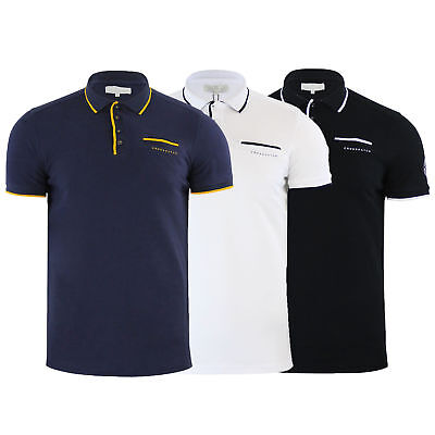 Mens Polo T Shirt Crosshatch Pinback Pique Tipped Top Short Sleeved Summer New