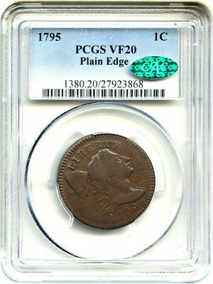 1795 1c PCGS/CAC VF20 (Plain Edge) Affordable Early Large Cent - Large Cent