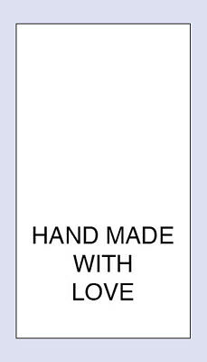 Hand Made With Love ( Text ) Sewing Washing Care Label 5 pack Sizes