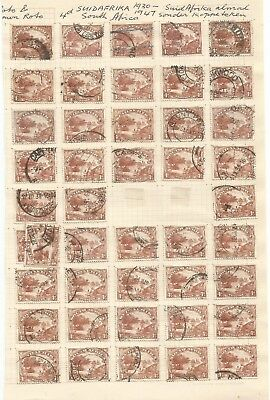 SOUTH AFRICA , 1927-1945 , 4d NATIVE KRAAL  TREE , USED LOT ON 3 PAGES , SINGLES