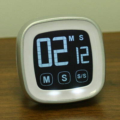 Timer Magnetic LCD Touch Screen Kitchen Countdown Count UP Alarm Clock White New