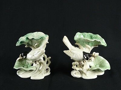 Fine Pair Antique Pottery Candle Holders Modelled as Birds on Lily Pads Cicadas