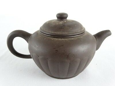 Fine Chinese Yixing Purple Clay Teapot with molded decoration marks to base