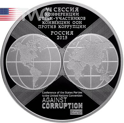 Russia 2015 3rub 10 Anniversary United Nations Convention Against Corruption Ag