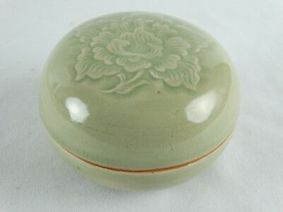Classic Thai Celadon Incised Lidded Earthernware Pot Siam Lotus Motif Thailand