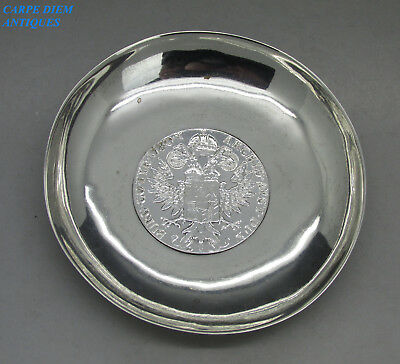 VINTAGE NICE QUALITY SOLID SILVER COIN INSET DISH, 76g NEAR EASTERN 95mm D c1930
