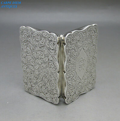 ANTIQUE VICTORIAN GOOD SOLID SILVER BRIGHT CUT SNUFF BOX, 41g BIRMINGHAM 1898
